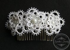 Bridal comb hair with hand tatted 3-D flowers by IzabelkasJewelry
