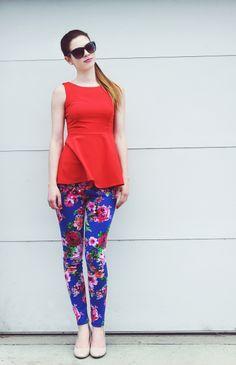 Bold and floral for spring. #blog #blogger #styleblog #clothes #fashion #style #peplum #peplumtop #floral #leggings #coral #violet #bold #spring #springfashion DarlingOnADollar.com
