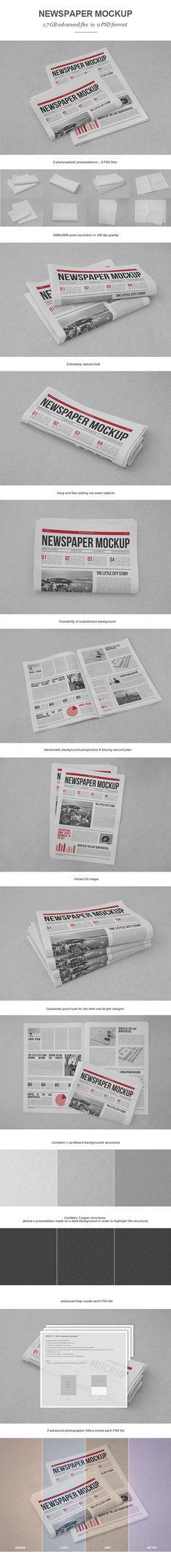 Newspaper Mock-up - Print Mockup Template by Newspaper Layout, Newspaper Design, Newspaper Paper, Mockup Photoshop, Branding, Brochure Design, Editorial Design, Layout Design, Design Elements