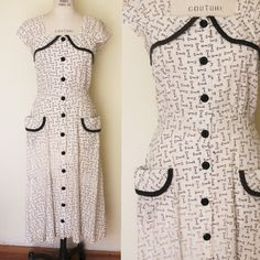CLEARANCE: Vintage 1940s Key Print Dress / 40s Princess Peggy Cotton Dress / White and Black / Novelty Print / Hip Pockets - pinned by pin4etsy.com