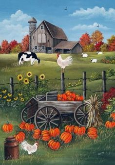 "~this is a ""sweet"" picture! Love ol' barns, pumpkins, well the whole picture♥♥♥ Autumn Painting, Autumn Art, Painting Pumpkins, Autumn Garden, Fall Pictures, Pictures To Paint, Farm Paintings, Country Paintings, Autumn Scenes"