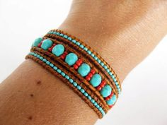 Turquoise and red leather wrap bracelet