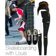Skateboarding with Louis by style-with-one-direction on Polyvore featuring moda, Topshop, Vans, OneDirection, 1d, louistomlinson and louis tomlinson one direction 1d