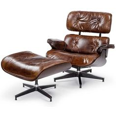 Vintage modern lounge chair with ottoman in vintage brown cigar leather by Regina Andrew.