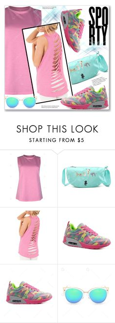 """""""Sporty Chic"""" by jecakns ❤ liked on Polyvore featuring Pink, sporty, lightblue and gamiss"""