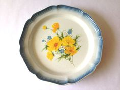 Mikasa Dinner Plate. 'Country Club Amy' Pattern. Floral Print in Light Blue, Yellow, and White. Vintage Stoneware. Retro Kitchen. by AntVillage on Etsy