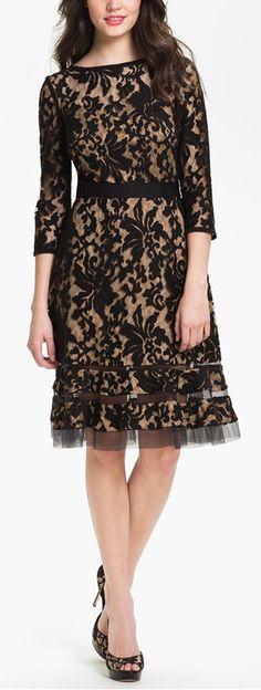 Lace overlay dress by Tadashi Shoji