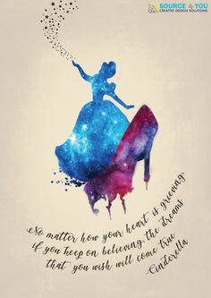 """ No matter how your heart is grieving if you keep on believing the dreams that you wish will come true"" --- Cinderella Cinderella Quotes, Disney Princess Quotes, Disney Nerd, Disney Love, Cinderella Disney, Disney Magic, Art Prints Quotes, Art Quotes, Inspirational Quotes"