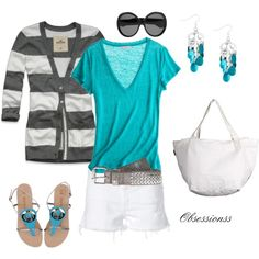 Bleu, created by obsessionss - wear my teal shirt and earrings and white shorts like this Cute Summer Outfits, Cute Outfits, Girly Outfits, Summer Shorts, Summer Clothes, Fashion Outfits, Womens Fashion, 40s Fashion, Fashion Clothes