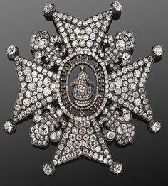 Maltese Cross diamond brooch, circa 1850s.