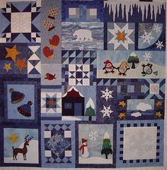 """Fertiges Top vom Quilt """"Wintermagie"""" Design/Anleitung: Adventskalender 2014 von Roswitha Meidl (CountryRose Pattern)"""