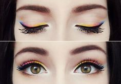 Rainbow colors eyeshadow line first. Finish with black eyeliner. Great look!