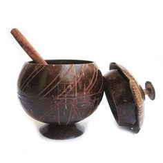 Coconut Shell Crafts Curd Pot With Lid and Spoon by Kavin Crafts ...