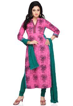 Pink and Black shaded cotton readymade churidar