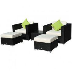 conjunto muebles jardin y salon de ratan mimbre y aluminio piezas negro nuevo