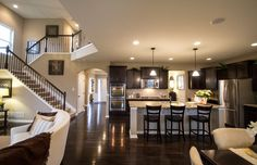 Open floor plan dark floors,