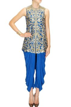 Cobalt blue heavy embroidered jacket with dhoti pants
