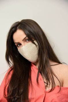 Beige Linen Face Mask with Filter/Activity Accessory/Washable Mask/Reusable Washable Mask/Dust Face Mask/ double layer Linen Selfie Poses, Selfies, Fashion Face Mask, Green Coat, Filter, Fashion Accessories, Beige, Women's Fashion, Long Hair Styles