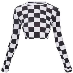 Monochrome Checkerboard Grid Check Long Sleeve Crop Top ($18) ❤ liked on Polyvore featuring tops, white crop top, crop tops, checkered top, long sleeve crop top and cut-out crop tops