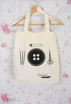 Renew Vintage calico #TOTE - LIMITED RUN - #button #scissors #needles #safetypin cotton #librarybag Large Carry-All by #renewvintage