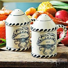 Blue Crab Stoneware Shakers