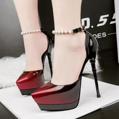 Gradient Pointed Toe Platform Ankle Wrap Beads Stiletto High Heels - Famous Last Words Platform High Heels, Black High Heels, High Heels Stilettos, High Heel Boots, Heeled Boots, Stiletto Heels, Shoes Heels, Sexy Heels, Ankle Boots