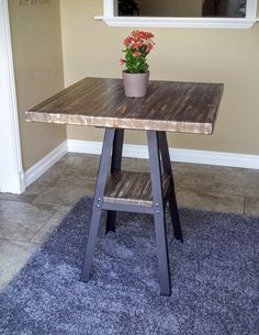Industrial Counter Height PUB TABLE- Reclaimed Wood w/ Lower Shelf