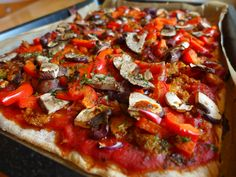 Pizza ohne Käse, vegan