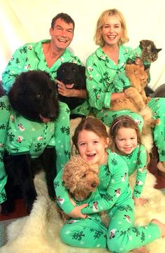 Rebecca Romijn, Jerry O'Connell Pose With Twin Daughters and Pets in Matching Pajamas For Christmas Photo