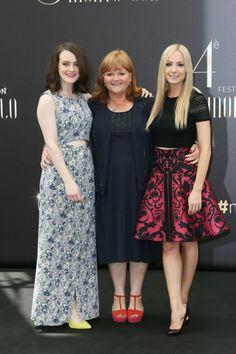 Sophie McShera (Daisy), Lesley Nicol (Mrs. Patmore) and Joanne Froggatt (Anna) of Downton Abbey