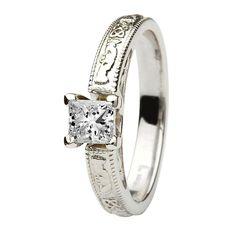Claddagh Celtic solitaire diamond 14k white gold engagement ring princess cut