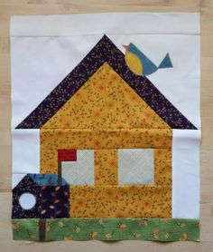 Be My Neighbor Patterns House Quilt Patterns, House Quilt Block, Crazy Quilt Blocks, Paper Piecing Patterns, Quilt Block Patterns, Pattern Blocks, Crazy Quilting, Hama Beads Minecraft, Perler Beads