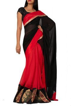 Black and Red Brocade Saree Rs.3290