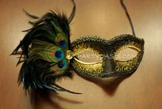 Masquerade Feather Mask----Heather would love this!