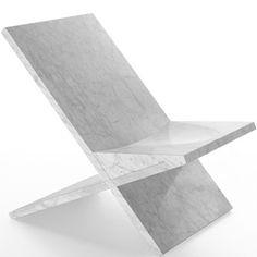 Konstantin Grcic Sultan Reclined Chair Carrara marble, Marsotto Edizioni