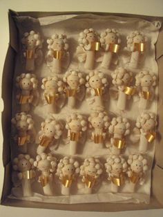 "Lot of 23 Handmade Macaroni Pasta ANGEL CHRISTMAS ORNAMENTS 3"" Resell Craft Sale"