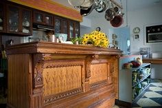 Antique Eastlake store counter repurposed. Wow.