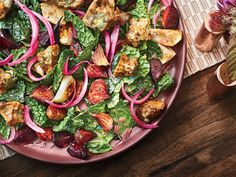 This Tuscan Kale Salad with Gorgonzola Croutons recipe gets its flavor from blue cheese and rye bread. Get the recipe from Food & Wine. Wine Recipes, Great Recipes, Favorite Recipes, Quick Pickled Red Onions, Crouton Recipes, Turnip Recipes, Rye Bread, Kale Salad, Roasted Vegetables