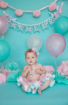 SHABBY CHIC Baby's First Birthday BANNER in Aqua, Tiffany blue, and pink. 1st Birthday photo shoot. Baby photo prop idea.