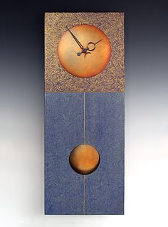 Jane Pendulum Clock in Blue by Leonie Lacouette: Wood Clock available at www.artfulhome.com