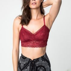 Lace Bralette Lace bralette that can be worn as a crossback or regular back. Available in black and burgundy. This listing is for the BURGUNDY. Brand new. NO TRADES. Bare Anthology Intimates & Sleepwear Bras