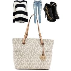My Style  MICHAEL Michael Kors Jet Set Logo Travel Tote Beige!! Holy cow, I'm gonna love this site!