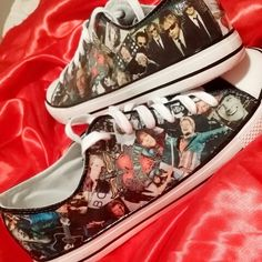 Bon Jovi Custom Pumps Available from facebook.com/inspiredbyshoes #bonjovi #jonbonjovi #livingonaprayer #custompumps #customshoes #shoes #weddingshoes #inspiredbyshoes #bonjovifans