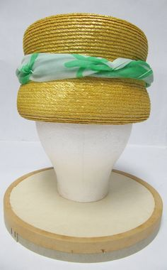 1960's Otto Lucas Yellow Straw Hat with Green Silk by MimiCloset, $60.00