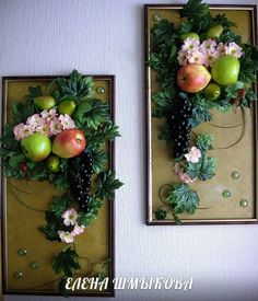 панно из искусственных фруктов | 9 фотографий Sculpture Painting, Sculpture Clay, Dried Flower Arrangements, Dried Flowers, Cool Paper Crafts, Fun Crafts, Polymer Clay Projects, Clay Crafts, Artificial Plant Wall