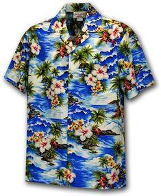 Pacific Legend Men's Hawaiian Shirt 410-3238 [Blue]