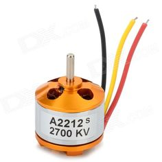 A2212 2700KV Brushless Motor Set for R/C Toy - Golden + Silver. Battery: 2~3 Li-Poly / 5~7 Ni-Mh/Ni-Cd. - KV??2700. - Working efficiency: >75%. - Working current: 14~25A(>72%). - No load current: 10V:1.5A. - Instantaneous maximum current: 25A/60s. - Output shaft diameter: 3.17mm. - This motor compatible with 450~550 multiple rotor, 1 meter 4-wing glider.. Tags: #Hobbies #Toys #R/C #Toys #Other #Accessories