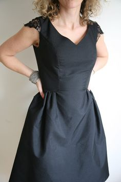 How to sew lace cap sleeves on a dress