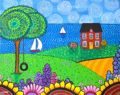 "SOLD Red House. $500. ( aprox 36"" wide, have to measure it) Acrylic on gallery stretched canvas .Image stretches around the sides. Part of a diptych. by Shelagh Duffett, If interested contact duffettfolkart@yahoo.ca"