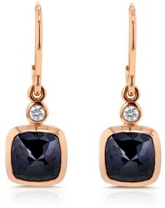 14K Rose Gold with 2.7ct Black and White Diamond Earrings